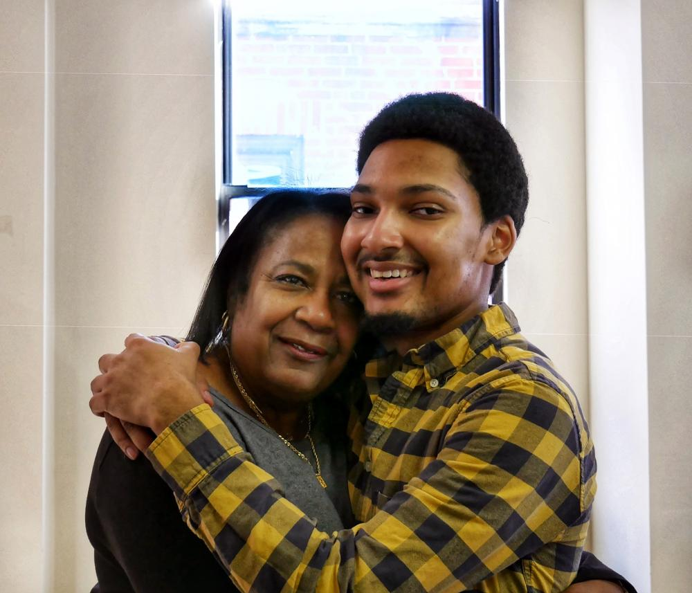 Gloria Timmons and her son
