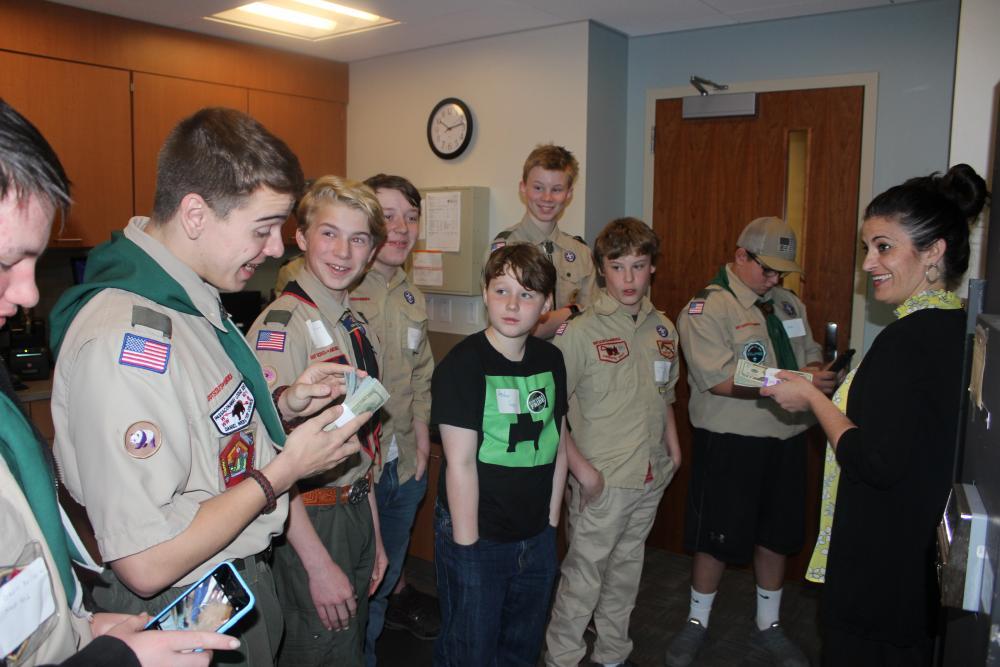 Scouts tour bank vault